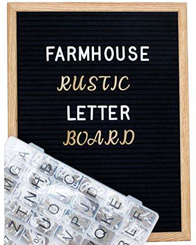 Large Letter Board 12x16 with 800+ Pre Cut & Sorted White, Gold & Cursive Style Felt Letter Board Letters for Baby Announcement sign, Quote Board or Rustic Wood Frame Letterboard by Feltwrite