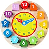 Jamohom Wooden Shape Sorting Clock-Teaching Time Clock Shape Sorting Number Blocks, Jigsaw Montessori Early Learning Wooden Montessori Educational Toy Gift for 1 2 3 Year Old Toddler Baby Kids
