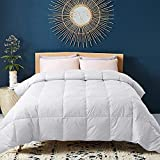 WhatsBedding 100% Cotton Down Comforter with Corner Tabs White Goose Duck Down and Feather Filling Medium Warmth All Season Duvet Insert or Stand-Alone Down Comforter Queen Size