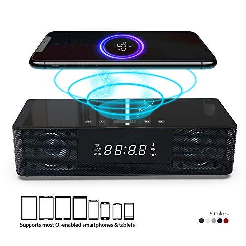 Radio reloj despertador con altavoz Bluetooth HD Radio FM Cargador inalámbrico certificado QI para iPhone, Samsung y más, puerto USB Batería de respaldo Entrada auxiliar