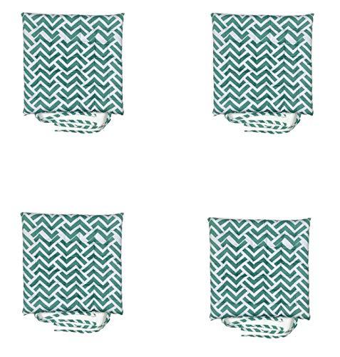 Homevibes Cojines para Sillas, Cojin para Silla con Lazos, Juego de 4 Cojines para Interior o Exterior de 100% Algodon, Medidas 40 x 40 x 5 cm Varios Diseños para Decorar Tu Hogar (Lab Verde)