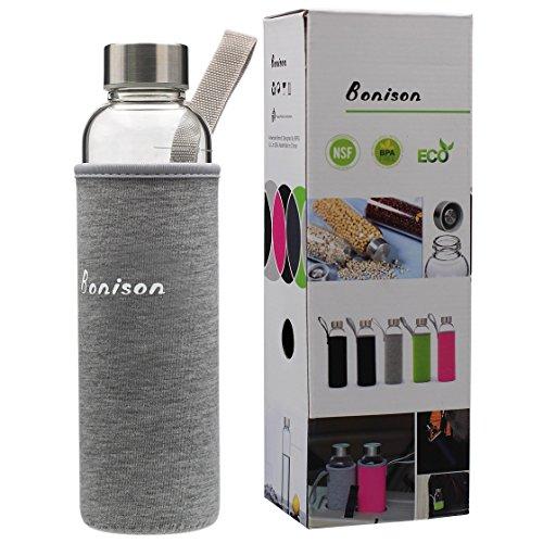 BONISON Stylish Borosilicate Glass Water Bottle with Colorful Nylon Sleeve (18oz) (GREY)