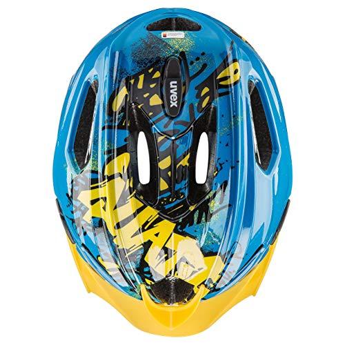 uvex Unisex Jugend Quatro junior Fahrradhelm, Blue Yellow, 50-55 cm - 5