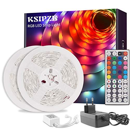 Ksipze Tiras LED 10m, Luces LED RGB con Control Remoto y Fuente de Alimentación de 12V, 20 Colores y 8 Modos de Escena para la Habitación, Techo, Cocina 2 Rollos de 5m