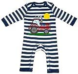 HARIZ Baby Strampler Streifen Traktor Sonne Auto Polizei Plus Geschenkkarte Navy Blau/Washed Weiß 6-12 Monate