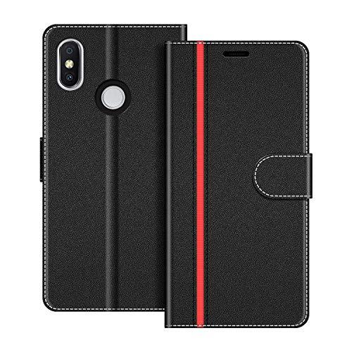 COODIO Handyhülle für Xiaomi Redmi S2 Handy Hülle, Xiaomi Redmi S2 Hülle Leder Handytasche für Xiaomi Redmi S2 Klapphülle Tasche, Schwarz/Rot