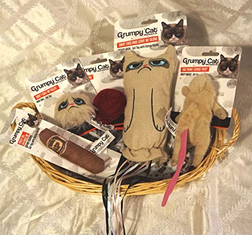 Paradise Pets GRUMPY CAT WRAPPED HAMPER FILLED WITH GRUMPY CAT & KITTEN CAT TOYS