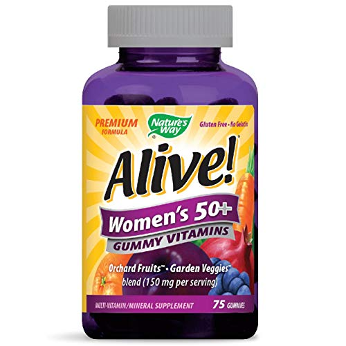 Nature's Way Alive! Womens 50+ Premium Gummy Multivitamin, Full B Vitamin Complex, 75 Gummies