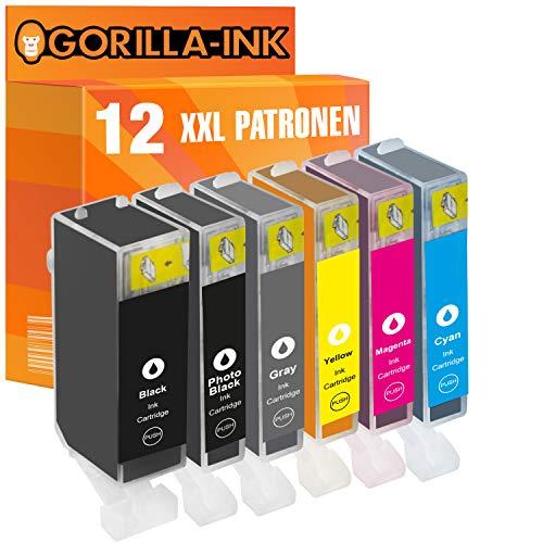 Gorilla-Ink 12 cartuchos de tinta gris XXL como repuesto para Canon PGI-525 CLI-526 | para Canon Pixma IP 4850 IX 6550 MG 5250 MG 6150 MG 8150 MG 6250 MG 8240