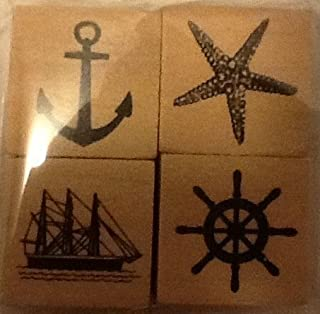Set of 4 Nautical Mini-Stamps - Wood Mounted - Anchor, Clipper Ship, Star Fish, Boat Wheel