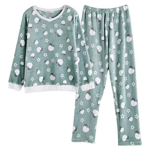 MINTLIMIT Schlafanzug Mädchen Lang aus Baumwolle Langarm Zweiteilige Pyjama Set Oberteile & Pyjamahosen Fleece_Grün#3 XL