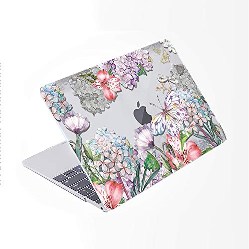 SDH for MacBook Pro 13 inch Case (2020/2019/2018/2017/2016,Touch Bar & ID),Plastic Pattern Hard Shell & Laptop Sleeve Bag & Keyboard Cover for Mac Pro 13 A2159/A1989/A1706/A1708,Flower World 18