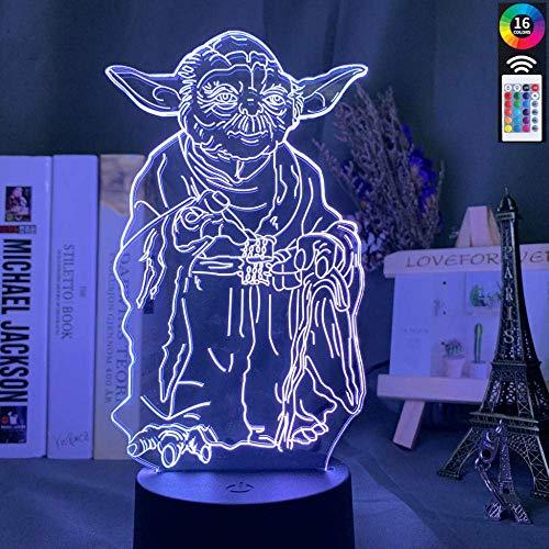 3D-Illusionslampe führte Nachtlicht Star Wars Master Yoda für Home Decoration Weihnachtsgeschenk für Freund Kinder Jungen Tischlampe