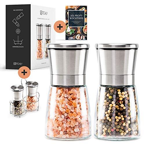 Kitchly Salz und Pfeffermühle | Hochwertige Gewürzmühle (2er Set) für Salz, Pfeffer mühle oder andere Gewürze geeignet | Einfach zu bedienen und zu reinigen | + Tischhalterung + Ebook inklusive