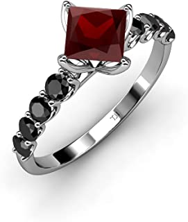 TriJewels Red Garnet Princess Cut and Side Black Diamond Engagement Ring 1.53 cttw in 14K Gold