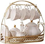 Tea Set 16 Pieces Gold Trim Afternoon Tea Drinkware Coffee Set Glazed Porcelain Coffee and Tea Service Set with Cup Holder 6 Piece Cups Cup &Amp; Saucer Sets,Size:Set of, lsxysp, Silver, Set of 1