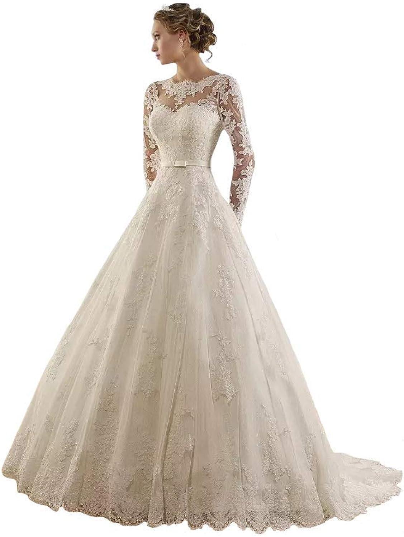 Fannybrides Women Jewel Lace Applique Long Sleeve Chapel Wedding Dress Bridal Gown