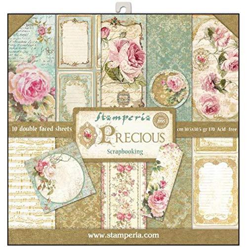 STAMPERIA SBBL24 Papierblock 10 Blätter doppelseitig - Edles Geschenk, Papier, Mehrfarbig, 30.5 x 30.5