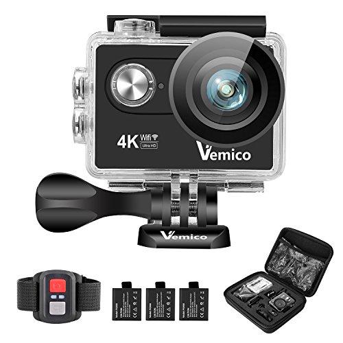 Action Cam, Vemico 4K Action Camera Sport Full HD Impermeabile Casco Camera 16MP WIFI Sport 40M Videocamera Subacquea Schermo LCD 2.0 con Controllo Remoto 2.4G e 3 Batterie Ricaricabili (Nero)