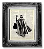 Funny Star Wars Gift for Man Boy Woman Kids Room Decor, Darth Vader with Guitar Poster, Black and White Art, Office Wall Decor, Boyfriend Gift Husband Birthday Valentines Day, Living Room Decor Cheap