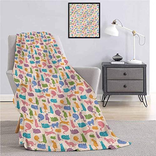 Toopeek Cat Super Lightweight Antistatic Blanket Animals Ornaments Warm-Lightweight Bed Blanket W80 x L60 Inch