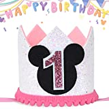 Mouse Party Hat, First Birthday Crown, 1st Birthday Party Photoshoot Photoprop hat (Birthday Hat Pink 1, Elastic Strap)