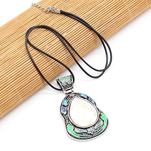SWAOOS Collar Retro de Concha de abulón Piedra Natural en Forma de Gota lapislázuli Colgante Gargantilla Boho étnico aleación Cristal Collares joyería