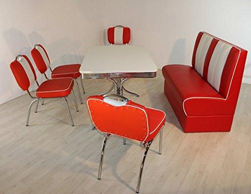 wendland-moebel.de Hausmarke Bank-Sitzgruppe American Diner Paul King4 6tlg in rot weiß