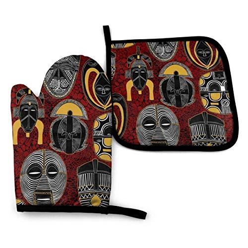 Eliuji Maske Afrikanische Motive Ofenhandschuhe und Topflappen Sets Hitzebeständige Küchenhandschuhe für das Grillen Kochen Backen Grillen