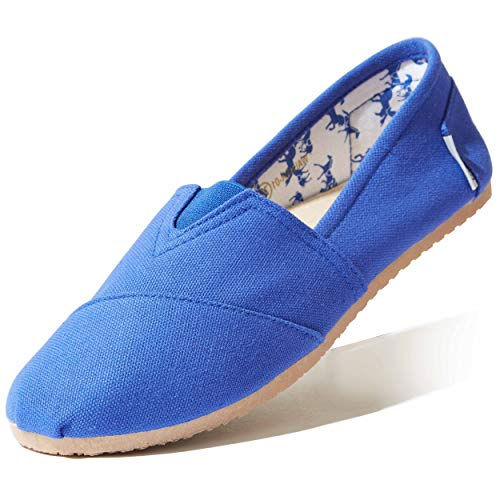 DailyShoes Women's Slip On Flats Massage Surface Flat Shoe Loafer Boat Classic Casual Shoes Round Toe Comfy Soft Walking Drive Walker-01 Cobalt Linen 6.5