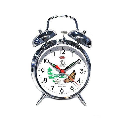 Reloj de mesa despertador analógico de carga manual cuerda vintage gallina