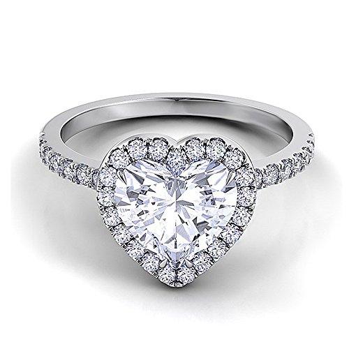 Be-Jewels Woman Heart Solitaire Ring avec 1,5 ct Zircon central coeur coupé et tige encastrée - Triple bain en rhodium - Différentes tailles - Haute qualité, anniversaire, fiançailles (17)