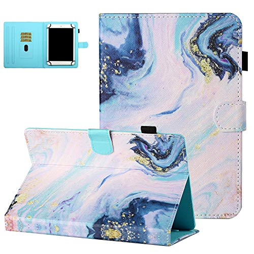 10 Inch Universal Tablet Case with Card Slots, UGOcase Synthetic Leather Folio Stand Protective Case for Fire HD 10/Galaxy Tab S3 9.7/Tab S4/Tab A 9.7/Tab E 9.6/Z500M 9.7'/TB2-X30F, Marble Pattern