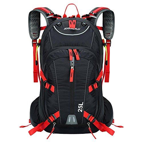 Lixada 25L Sumergible Transpirable Mochila para Deportes Ultraligero Bolsa de Agua con Cubierta de la Lluvia (roja)