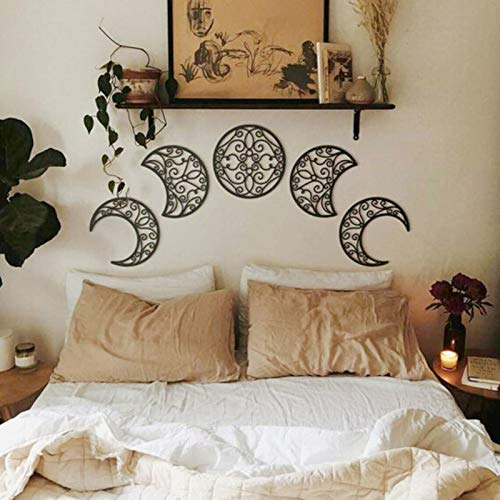 Aliwo 5pcs Moon Phase Wall Hanging Wooden Bedroom Wall Decor Above Bed DIY Headboard Ideas Above Bed Decor