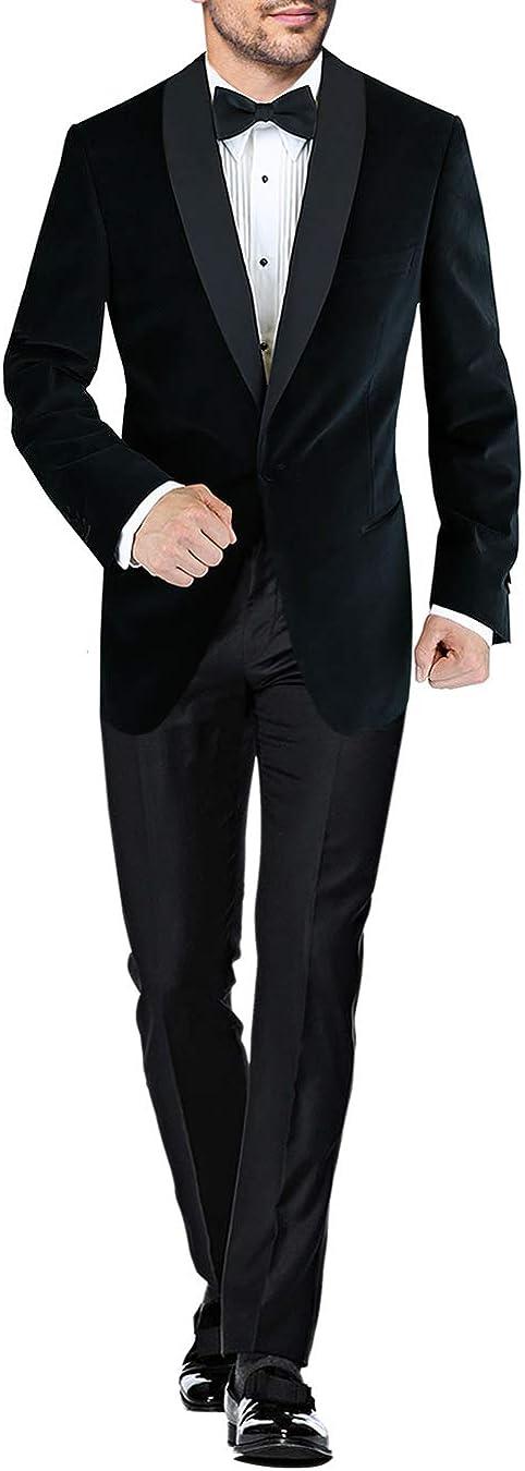 DTI BB Signature Men's One Button Lapel Velvet Tuxedo Blue Shawl 100% quality warranty Excellent
