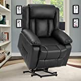 Electric Power Lift Recliner Chair for Elderly with Massage and Heat, Soft Fabric Motorized Recliner Sofa for Living Room with Massage Remote Control, 3 Positions, USB Port and 2 Side Pockets (Black)