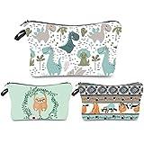 Dinosaurs Makeup Bag Travel Fun Sloth Cartoon Adorable Roomy Cosmetic Bag Water-resistant Toiletry Organizer Gifts Printing Handbag Purse for Women Girls,set of 3