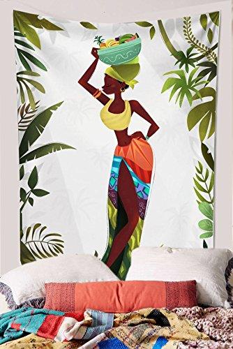 Koongso Tapiz para colgar en la pared de las mujeres africanas Hippie, decoración de la playa, manta para dormitorio de 152 cm de ancho x 152 cm de largo