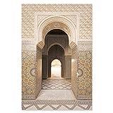 Art Mural Islamique marocain Beige Arc Architecture Affiche Salon Maison bâtiment Religieux Decoration Murale Art marocain Arc Toile Tableau Peinture 50x70cmx1 sans Cadre