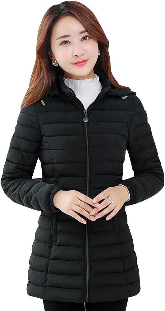 ZEVONDA Womens Coat Warm Winter Fashion Quilted Hooded Coat Cotton Padded Jacket