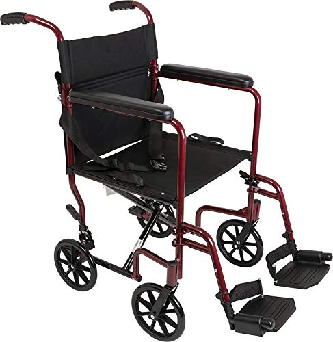 Wave Medical Premium Transport Wheelchair, Folding Transport Chair with Fixed Arms, Burgundy Frame
