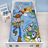Funda de edredón oficial de Toy Story 4 Junior Roar cuna | Woody, Buzz Lightyear & Friends | Juego de ropa de cama y funda de almohada para niños