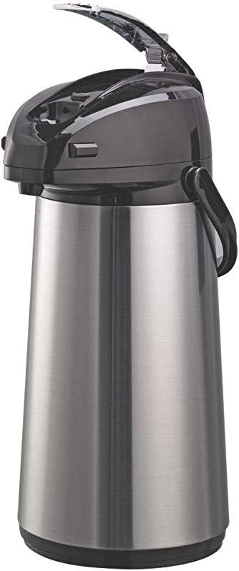 Service Ideas AELS228 Airpot With Lever Glass Lined 2 2 L Brushed With Black Accents