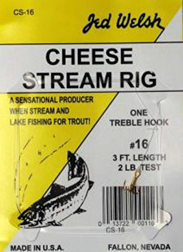 Jed Welsh Fishing 3 Pack Cheese Stream Rig Size 14 Hook Leader Rigs with #14 Hooks, Pre-Tied Ready to Fish-3 Pack, Clear