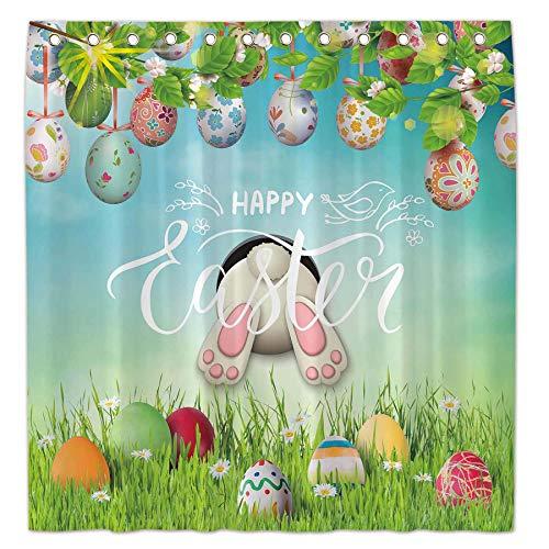 Allenjoy Duschvorhang mit Ostermotiv, 183 x 183 cm, buntes Eier, Frühlingsdekoration, Dekoration, personalisierbar, langlebiger, wasserdichter Stoff, maschinenwaschbar, Gardinen mit 12 Haken