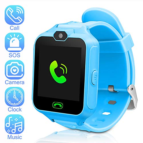 Kids Smartwatch Phone Watch Mini Digital Camera with 1.44 Touch Screen Music Player Alarm Clock Calendar Calculator Birthday Gift for Boys and Girls(Blue)