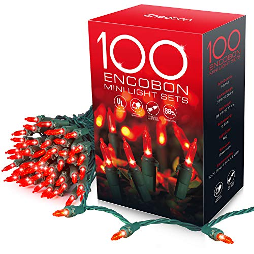 Encobon Red Christmas Lights, 33ft 100 LED String Lights, 120V UL Certified Xmas Tree Lights for Christmas, Halloween, Patio, Holiday, Party, Home, Indoor and Outdoor Decoration