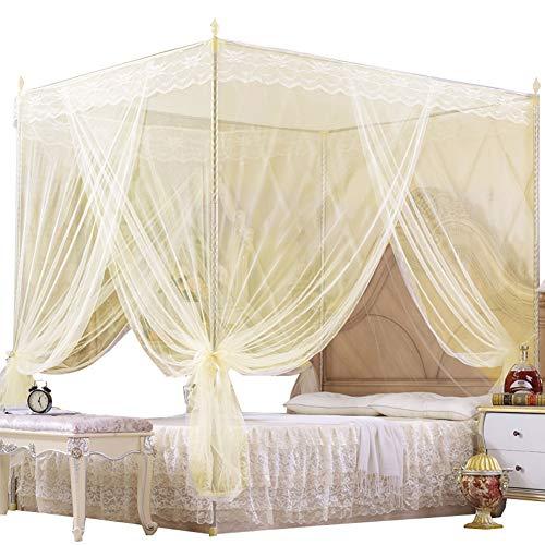 Moustiquaire pour Canopy moustiquaire de lit Le filet mince filet permet de Bugs Breeze pour un sommeil sain Détendu,Beige,150x200cm