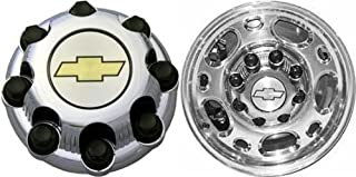 16 Inch OEM Chevy HD 8 Lug Chrome Plated SRW Center Cap Hubcap Wheel Cover, 1999-2010 #5079 C5079 15039489, 15039488, 9597169 and/or 9597170 Silverado Avalanche Suburban 2500 3500 Pickup Truck Suv 7.75